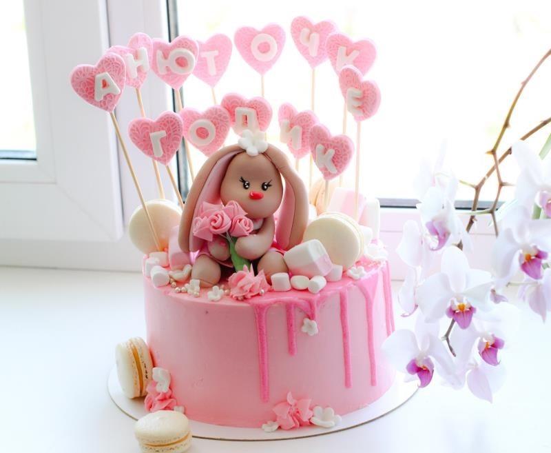 Красивый тортик с зайкой ми012