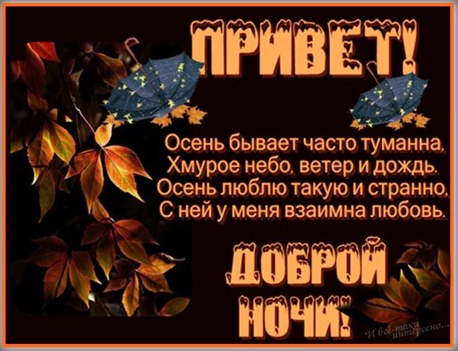 Открытки осень спокойной ночи для девушки007