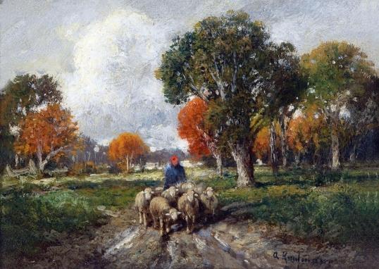 Пастух и овцы картина002