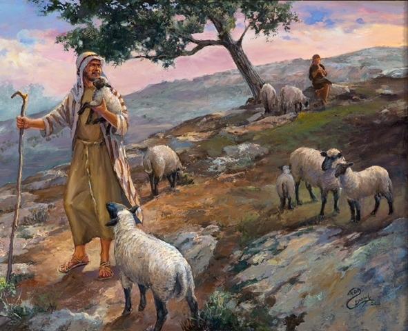 Пастух и овцы картина003