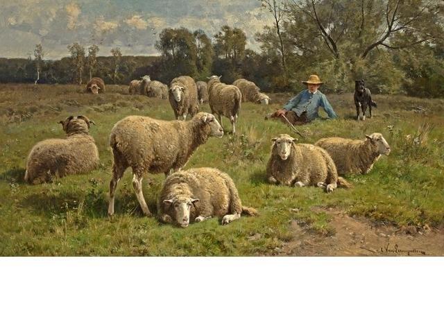 Пастух и овцы картина006