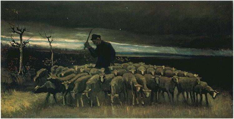 Пастух и овцы картина007