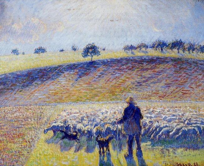 Пастух и овцы картина008