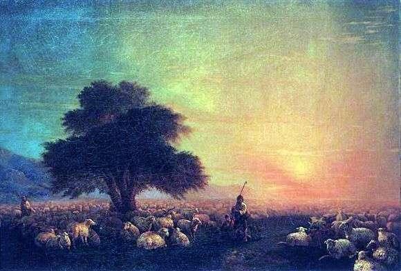 Пастух и овцы картина012