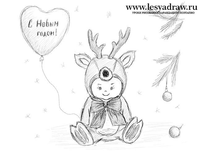 Удивительный рисунок Деду Морозу на новый год017