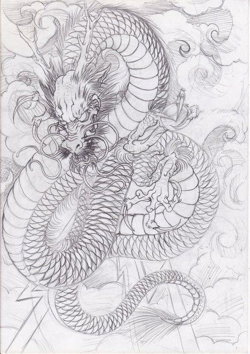 Эскиз дракон с цветами - подборка фото001