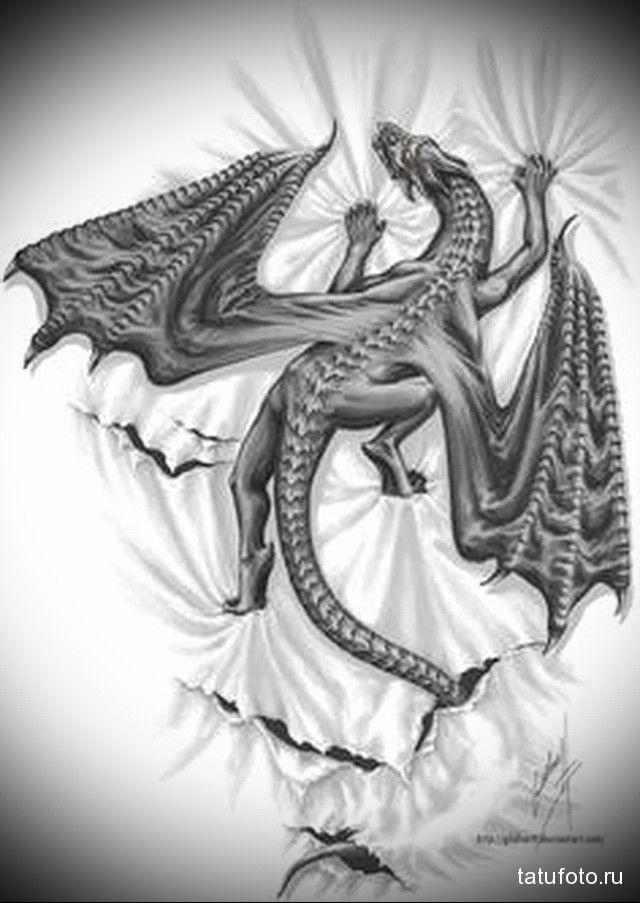 Эскиз дракон с цветами - подборка фото002