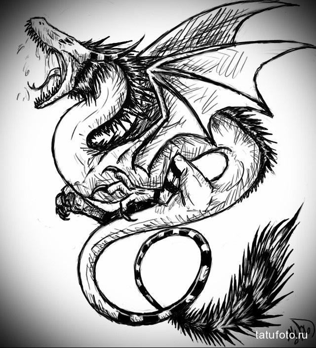Эскиз дракон с цветами - подборка фото004