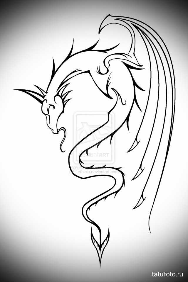 Эскиз дракон с цветами - подборка фото010
