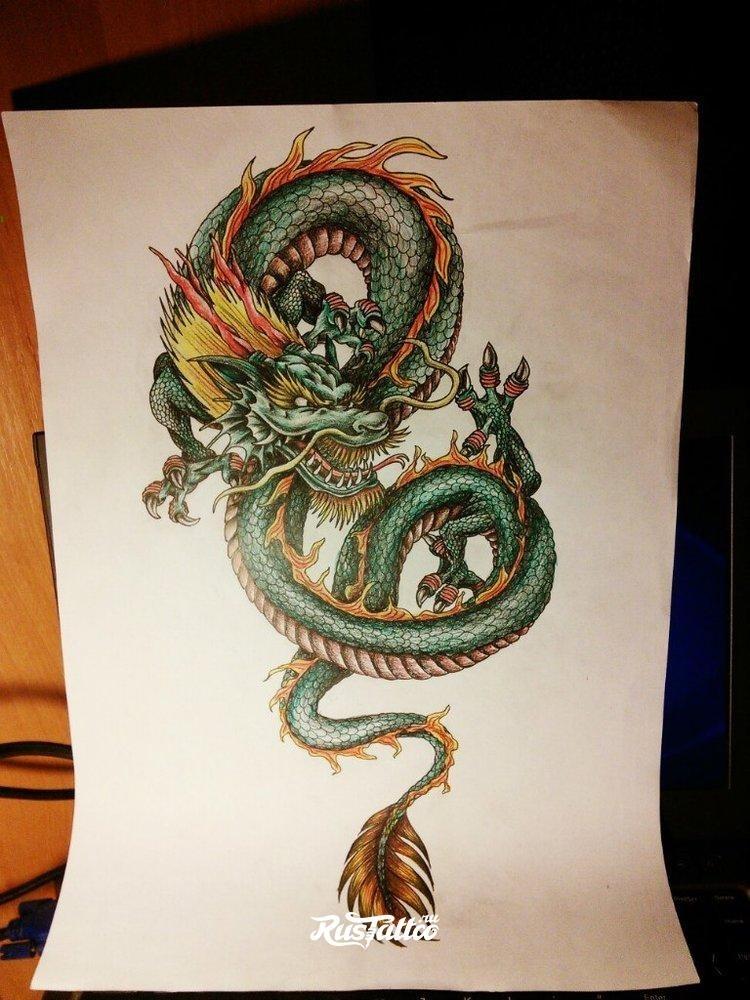 Эскиз дракон с цветами - подборка фото011
