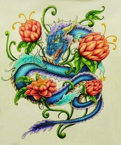 Эскиз дракон с цветами - подборка фото013
