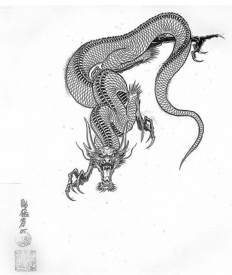 Эскиз дракон с цветами - подборка фото014