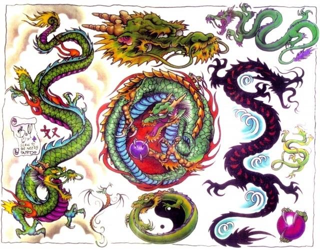 Эскиз дракон с цветами - подборка фото015