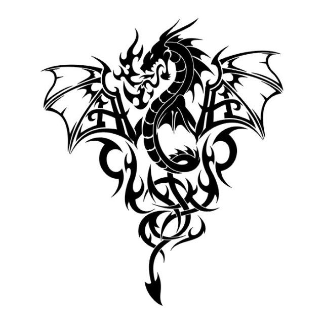 Эскиз дракон с цветами - подборка фото016