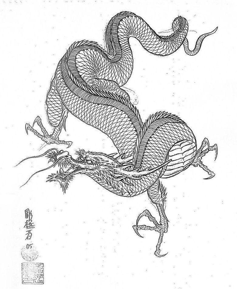 Эскиз дракон с цветами - подборка фото020