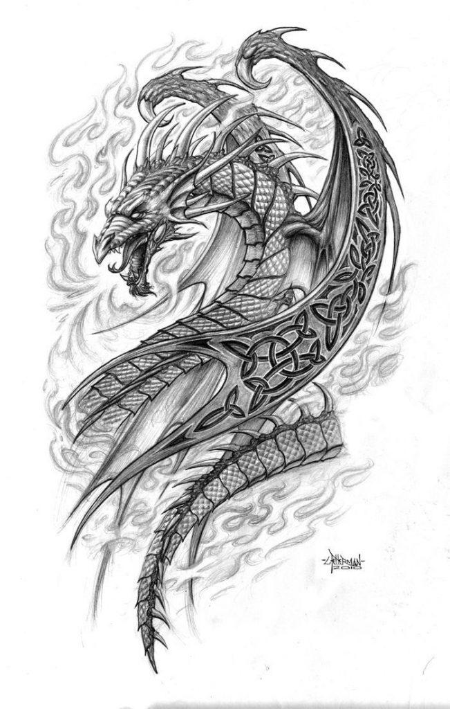 Эскиз дракон с цветами - подборка фото023