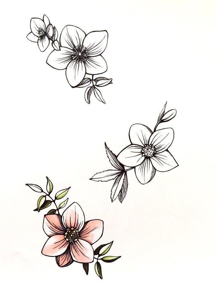 Эскиз тату маленькие цветочки002