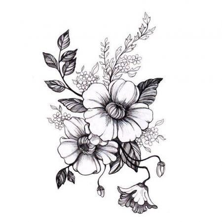 Эскиз тату маленькие цветочки004