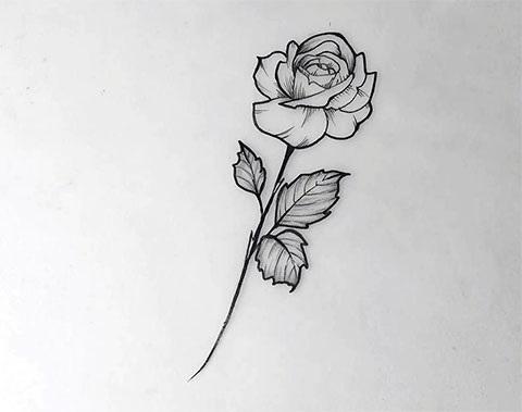 Эскиз тату маленькие цветочки007