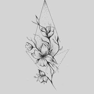 Эскиз тату маленькие цветочки012