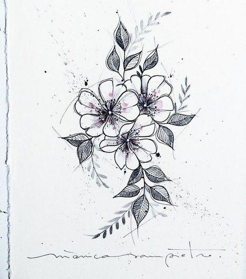 Эскиз тату маленькие цветочки015