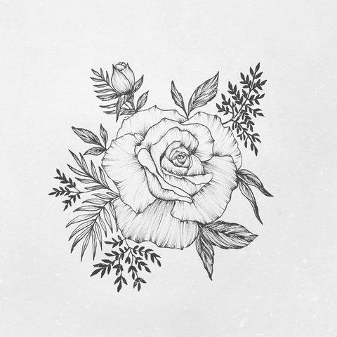 Эскиз тату маленькие цветочки016