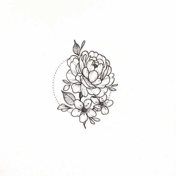 Эскиз тату маленькие цветочки017