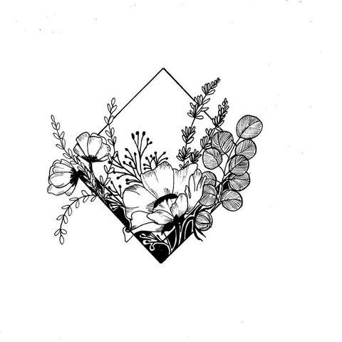 Эскиз тату маленькие цветочки018