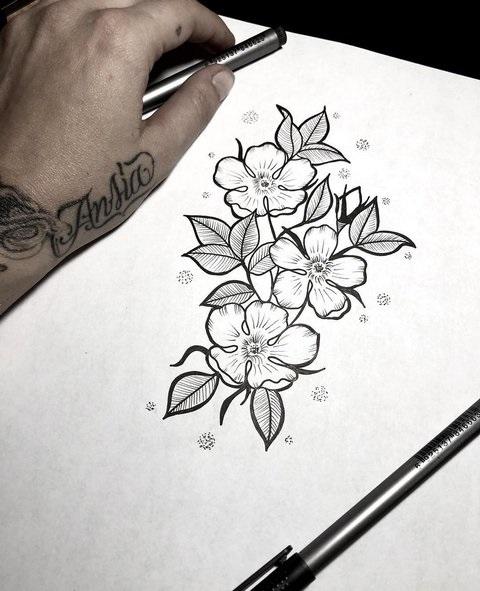 Эскиз тату маленькие цветочки019