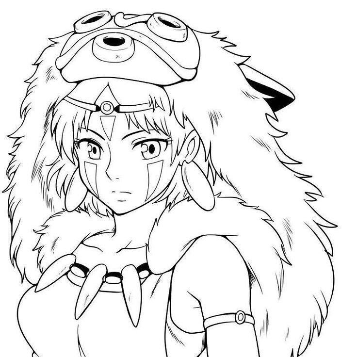 Красивые рисунки Принцесса Мононоке для срисовки002