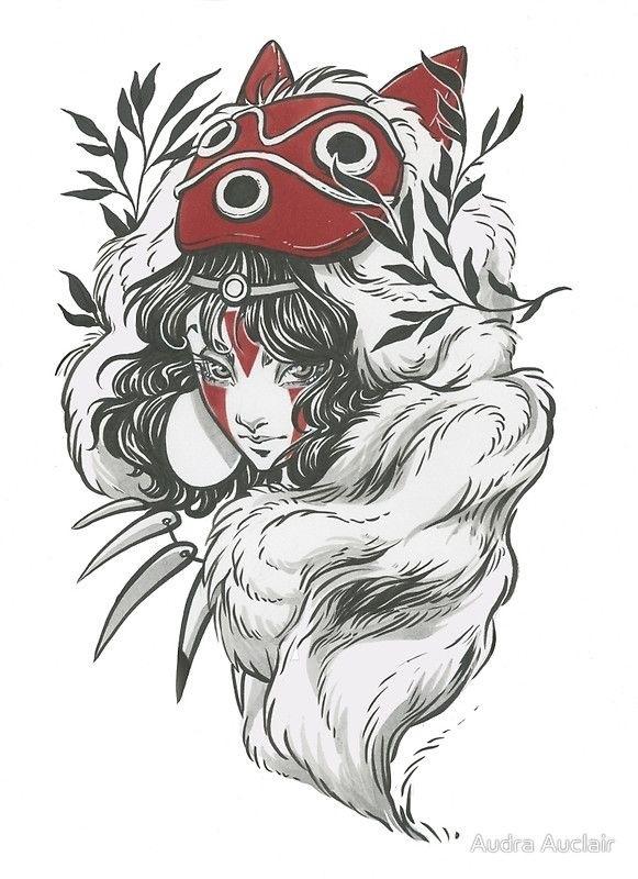 Красивые рисунки Принцесса Мононоке для срисовки018