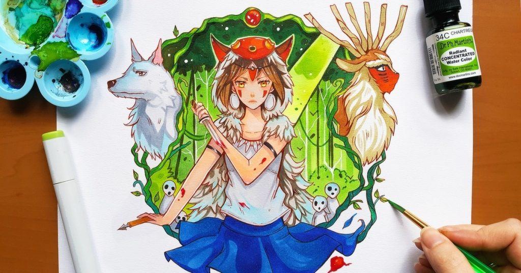 Красивые рисунки Принцесса Мононоке для срисовки022