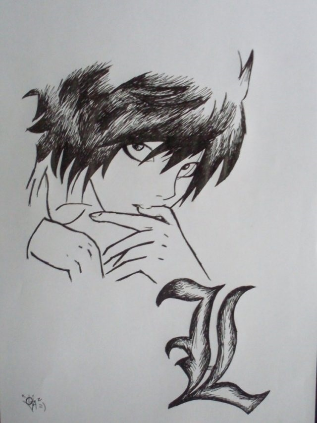 Аниме тетрадь смерти рисунки для срисовки