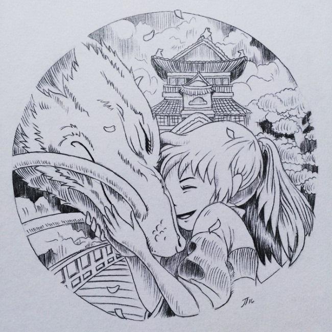 Красивые рисунки Унесенные призраками для срисовки003