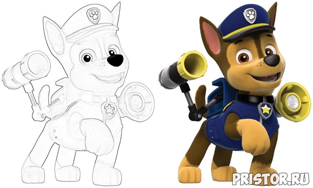 Красивые рисунки Щенячий патруль для срисовки005