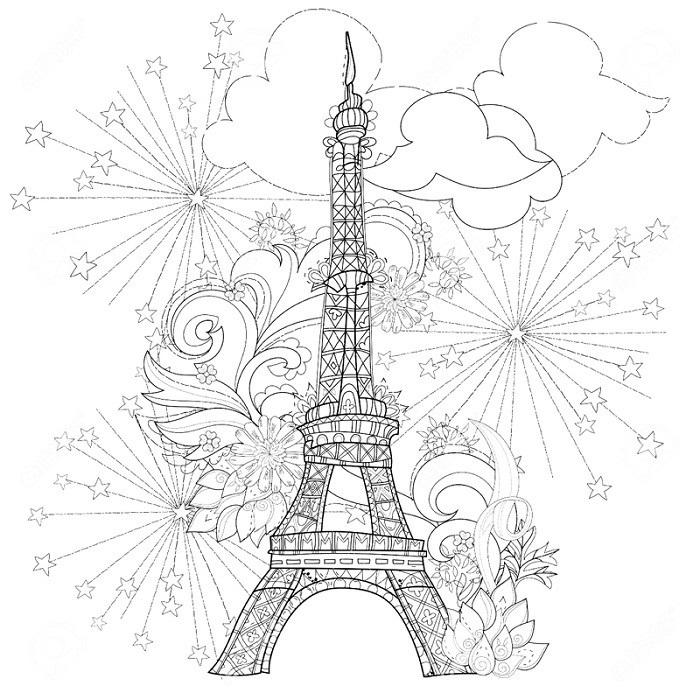 Красивые рисунки Эйфелевой башни для срисовки002