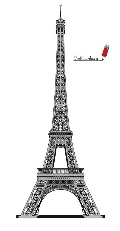 Красивые рисунки Эйфелевой башни для срисовки003