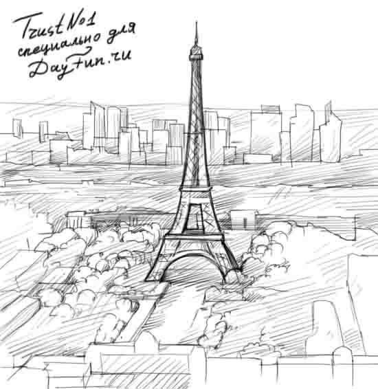 Красивые рисунки Эйфелевой башни для срисовки004