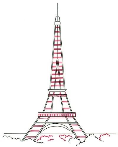 Красивые рисунки Эйфелевой башни для срисовки006