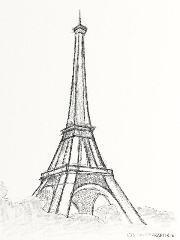Красивые рисунки Эйфелевой башни для срисовки009