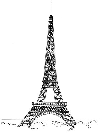 Красивые рисунки Эйфелевой башни для срисовки010