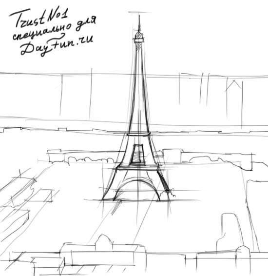 Красивые рисунки Эйфелевой башни для срисовки015