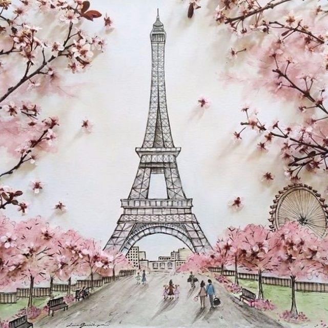 Красивые рисунки Эйфелевой башни для срисовки018