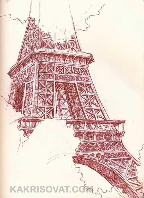 Красивые рисунки Эйфелевой башни для срисовки020