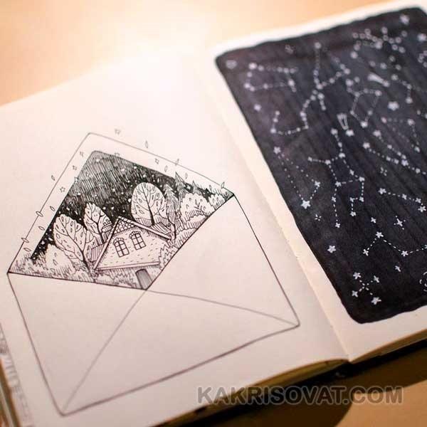 Красивые рисунки в блокноте для срисовки004