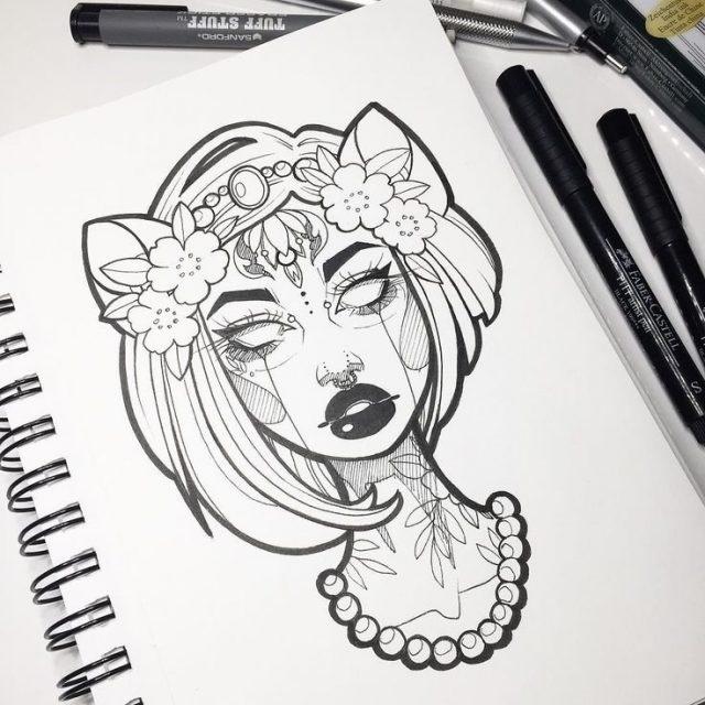 Красивые рисунки гелевой ручкой для срисовки005