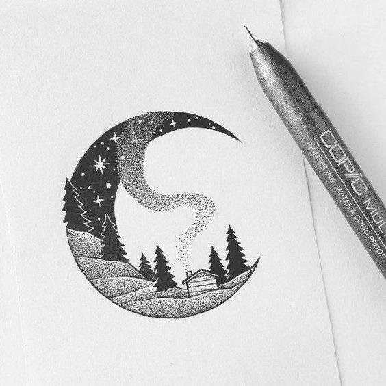 Красивые рисунки гелевой ручкой для срисовки010
