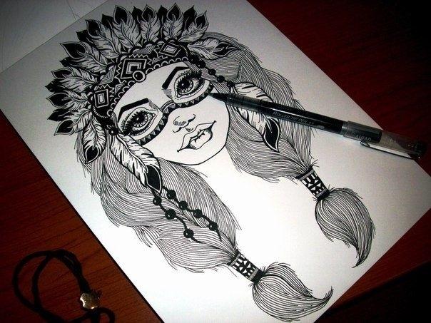 Красивые рисунки гелевой ручкой для срисовки013