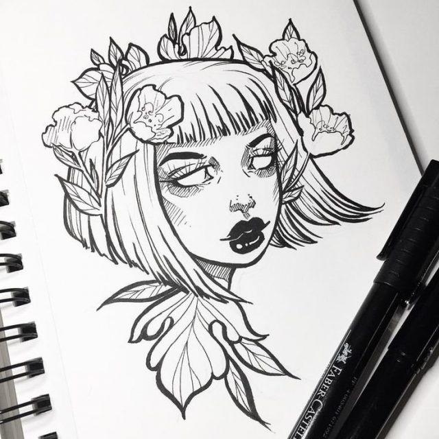 Красивые рисунки гелевой ручкой для срисовки018