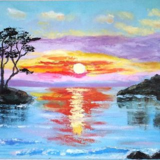 Красивые рисунки заката для срисовки (15)